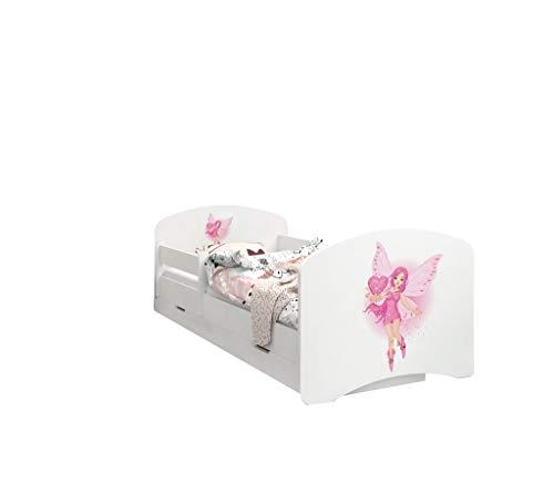 Happy Babies - LIT D'ENFANT DOUBLE FACE AVEC TIROIR Design moderne avec bords sécurisés et matelas en mousse antichute 7 cm (43. Princesse au coeur, 190x90)