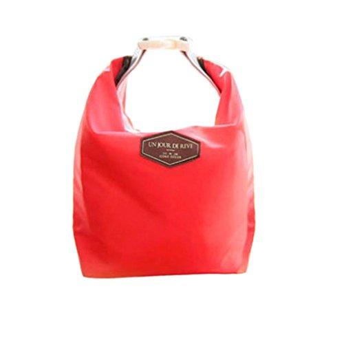 Rosennie Mode Tote Portable Isolierte Lunch Tasche Kühltasche wasserdichte Aufbewahrungsbox Lunchbag Werkzeug Tasche Lebensmitteltransport Lunch-Boxen Resistent Matte Camping Picknick Bag (Rot)