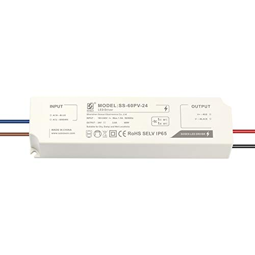 LIGHTEU®, alimentatore LED con trasformatore Sosen - 60 W, 24 V DC, 2,5 A IP65 - Tensione costante per lampade a striscia LED e lampadine a LED G4, MR11, MR16