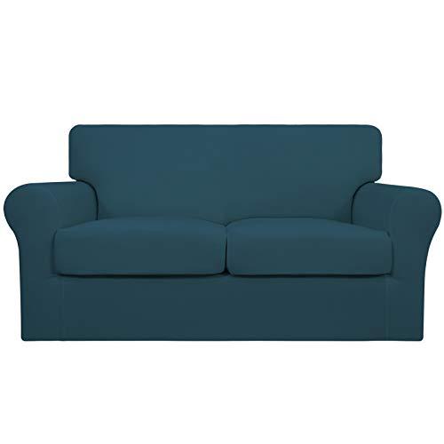 Easy-Going 3 piezas de funda elástica suave para sofá para perros – Funda de sofá lavable para 2 cojines separados – Protector de muebles elástico para mascotas, niños (leche, verde azulado)