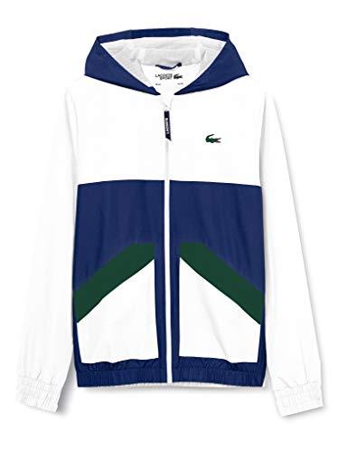 Lacoste BH2102 Abrigo de vestir, Blanco/Cosmica-Verde, Large para Hombre