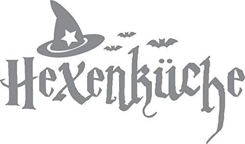 GRAZDesign Wandtattoo für Küche Halloween - Wandtattoo Esszimmer Hexenküche - Wandtattoo Küche Sprüche Schönes Motiv Hexenhut / 51x30cm / 074 Mittelgrau
