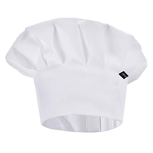 ESHATO Kids Chef Hat, Adjustable Elastic Cotton Cooking Cap for Children White