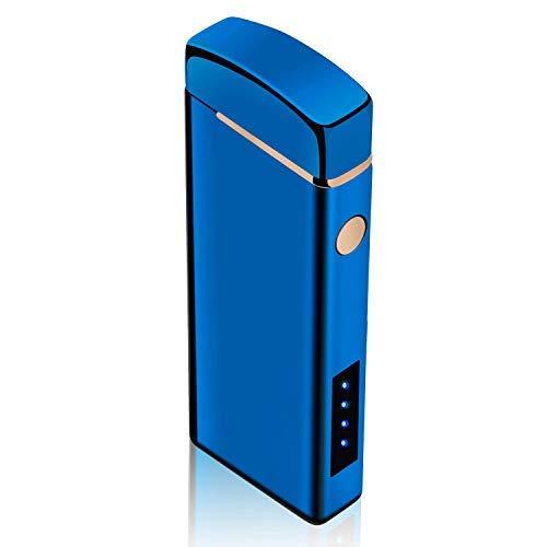プラズマ ライターusb ライター小型 lucarko充電式 防風 軽量 薄型 (ブルー)