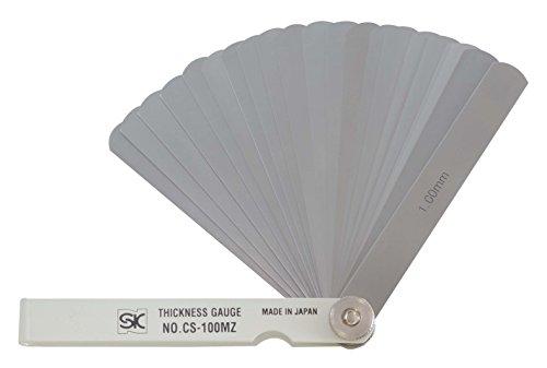 新潟精機 SK シクネスゲージ(すきまゲージ) カラースリーブタイプ 白 25枚組 100mm CS-100MZ 0.03-1.00mm