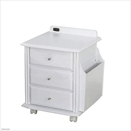 ZSIF Zijtafel massief hout nachtkastje nachtkastje wit met stopcontact eenvoudige locker drie lades