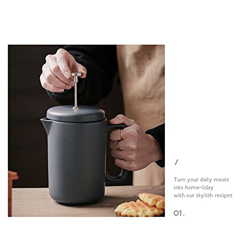 Francuski prasa do kawy Ceramika Kuchnia Francuska Press Ekspres do kawy 1050ml dla dobrej kawy i herbaty Maker Pot Camping Easy Clean Maszyny do kawy
