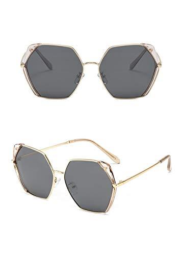 ShawnBlue , Nuevas Gafas, Gafas de Sol en Forma de Mariposa de Las Mujeres Delgadas con Estructura Irregular, Apto for Cualquier Cara (Size : Tea Frame Gray Tablets)