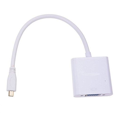 Vaorwne Micro HDMI zu VGA Kabel Konverter mit Audio-Kabel Weiss