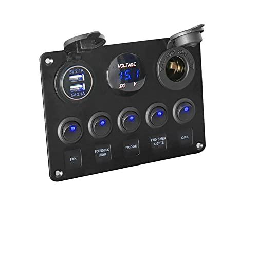 Panel De Interruptores Coche Marino Rocker Interruptor Panel Voltímetro DIGITAL DUAL USB Puerto 12V Combinación de salida Uso de ajuste para BMW E46 para Audi A4 (Color : Blue)