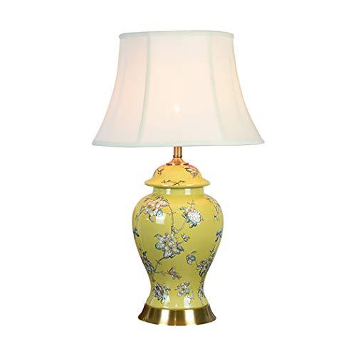 Lámpara de mesaLámpara de mesa de cerámica, lámpara de mesa de cerámica oriental grande, sala de estar de mandarina china y dormitorio E27, 110-240V