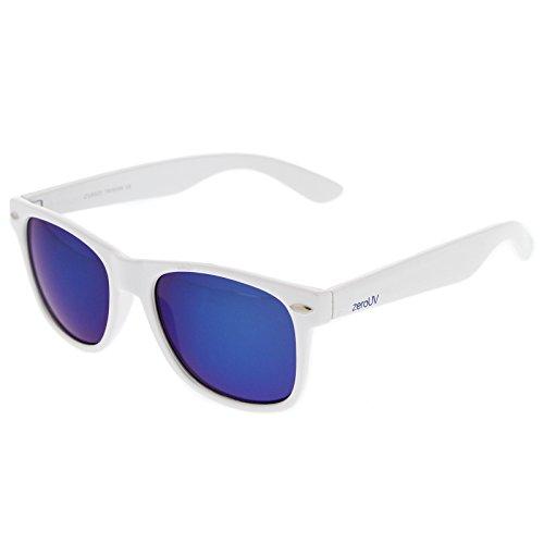 zeroUV 8025 Retro Matte Black Horned Rim Flash Colored Lens Sunglasses, White Ice, 50mm