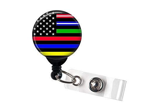 No One Left Behind Flag/Red/Yellow/Green/Blue - Retractable Badge Reel with Swivel Clip and Extra-Long 34 inch Cord - Badge Holder - Nurse, EMS, Police, Fire, Dispatcher, Military