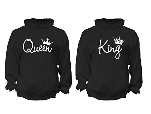 XtraFly Apparel Women's Queen King Reina Rey Valentine's Matching Couples Hooded-Sweatshirt Pullover Hoodie Black