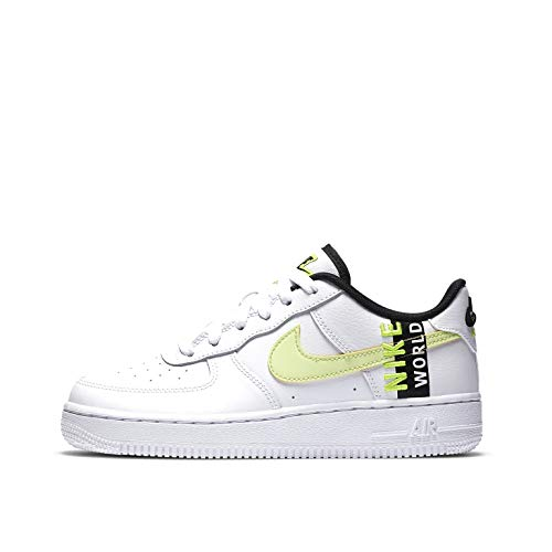 Nike Air Force 1 LV8 1 (GS), Scarpe da Basket Bambino, White/Volt-Black, 38.5 EU