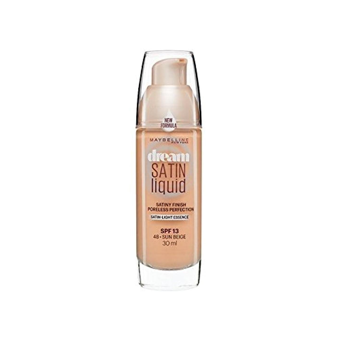 湿気の多いリラックスしたブリードMaybelline Dream Satin Liquid Foundation 48 Sun Beige 30ml (Pack of 6) - メイベリン夢のサテンのリキッドファンデーション48日ベージュ30ミリリットル x6 [並行輸入品]
