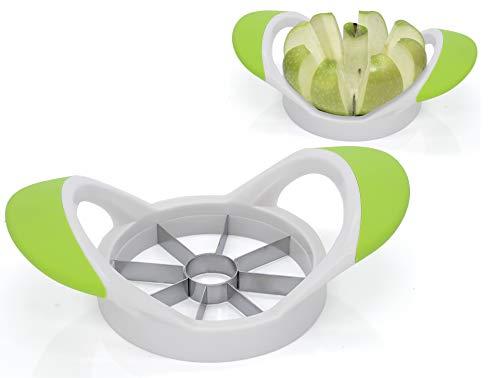 Granny\'s Kitchen Apfelschneider Obstschneider für Äpfel/Birnen Spalten - Apfelteiler & Entkerner mit Edelstahl Klingen/ergonomischer Griff Grün Weiß