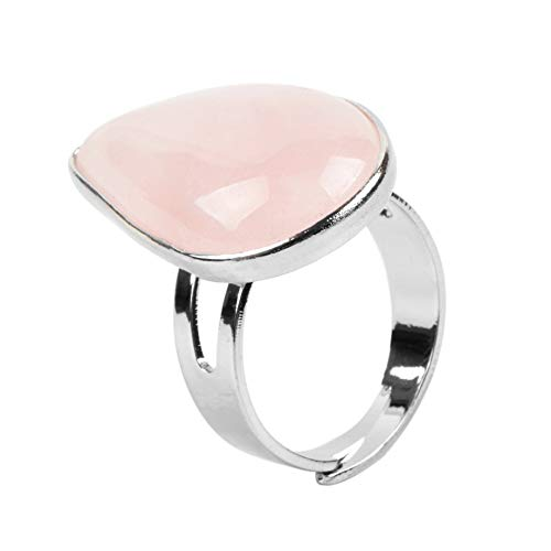 adjustable ring for women,Silver drop shape inlaid natural Pink crystal Aura stone charm Adjustable Open Knuckle Tail Ring Finger Joint Toe Ring Jewelry for Women Girls Gift Wedding engagement Mothe