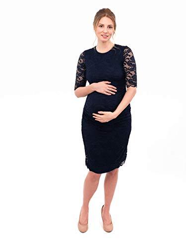 Herzmutter Umstands-Spitzen-Kleid, Elegantes-Knielanges Schwangerschafts-Kleid für Festliche Anlässe, mit Spitze aus Baumwoll-Mix, Creme-Weiß-Dunkelblau (6200) (Dunkelblau) - 6