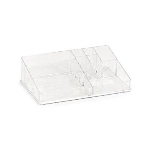 Zeller 14713 Kosmetik-Organizer mit 9 Fächer Organizer, Kunststoff, transparent, ca. 32 x 21 x 9 cm