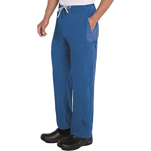 Landau Men's 7 Pocket, Modern Tailored Fit Full Elastic Waist Medical Scrub Pants 9250, Royal, XXX-Large