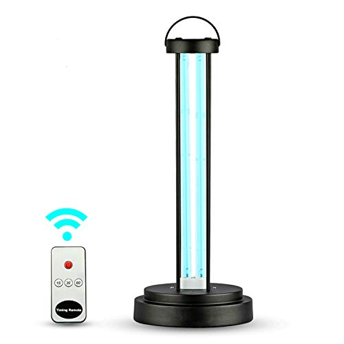 ZAMAT [US Stock] UV Light Sanitizer with Ozone Model, 58 Watt Disinfection Lamp with Remote Control UV Germicidal Lamp Sterilizer for Car Living Room Bedroom Household Kitchen Hotel Pet Area (Black)