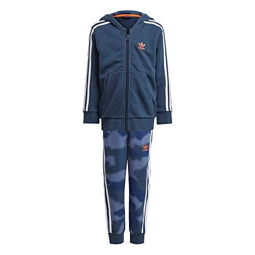 adidas GN4122 Hoodie Set FZ Tuta da Ginnastica Bambino Top:Crew Navy/Crew Blue/Multicolor/App Solar Red Bottom:Crew Blue s21/multicolor/white/app Solar Red 4-5A
