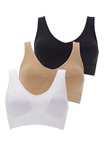 Boolavard Soutien-Gorge de Sport Femme Confort Soutien Gorge Ahh Bra Blanc, Noir, Beige, Rose, etc. (L: 96-101cm (42-44), Noir, Blanc et Beige)