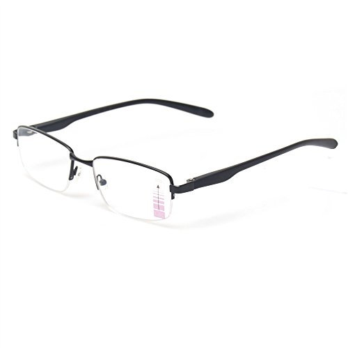 Progressive Multiple Focus Reading Glasses Metal Half Frame Multifocus Glasses for Men and Women (Black, 2.50)