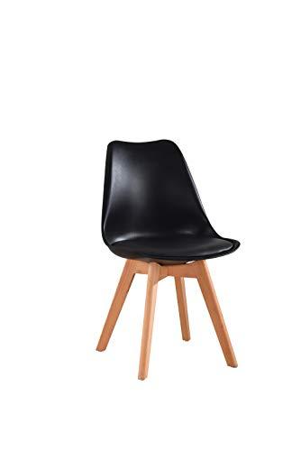 Beat Vintage-20 negra Silla patas madera y asiento negro con cojín estilo nórdico para comedor, co