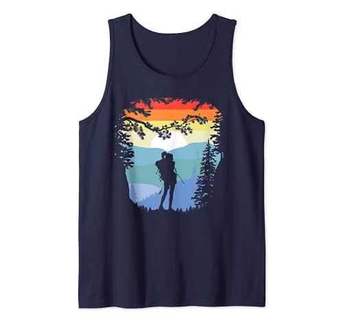 Trees Mountains & Girl Hiker Retro Negative Space Backpacker Camiseta sin Mangas