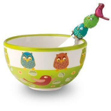 Ideal Home Range Hand Painted Spreader and Bowl Set, Owl and Bird Song Contest