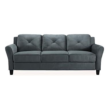Pearington Merango Microfiber Living Room 3 Seat Sofa, Dark Gray