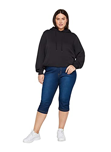 Zizzi Damen Capri Jeans 3/4 Caprihose Slim Fit Mit Stretch , Farbe: Blau, Gr. 54