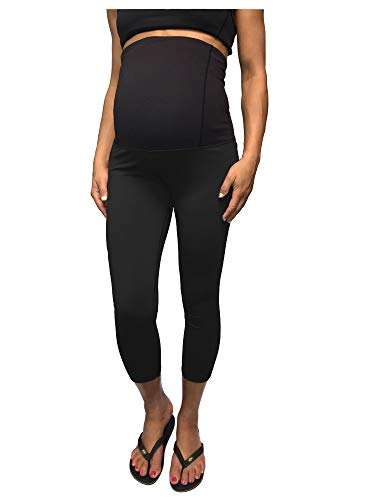 Cloya Women's Maternity Active Capri Pant (S, Black)