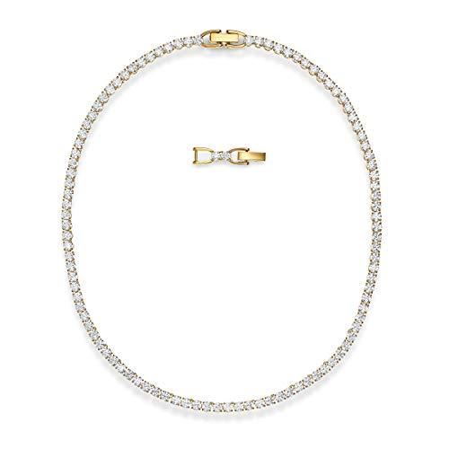 Swarovski Collana Tennis Deluxe, bianco, placcato color oro