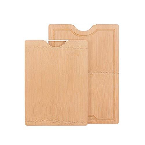 LIUIXNG-hm Juego de Piezas de Tabla de Cortar Tabla de Cortar de bambú de Gran Durabilidad y Durabilidad orgánica Superior con Ranura de Goteo Mejor para Carnes Verduras Queso