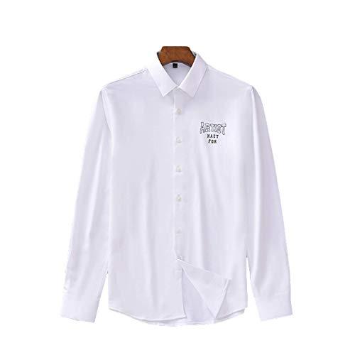 Camisas de Manga Larga para Hombre Camisas de un Solo Pecho con Estampado de Letras Personalizadas Slim Regular Fit Color Liso Large
