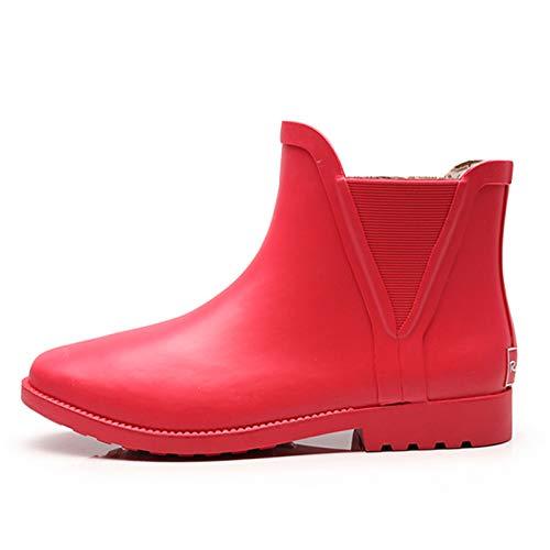 LINGZE Botines de Lluvia Impermeables, Zapatos de Agua de Goma Antideslizantes, para Poner y Quitar fácilmente