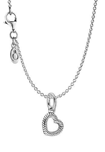 Pandora Collar para mujer con colgante de corazón de plata encantadora, set de regalo maravilloso para mujeres modernas 39514