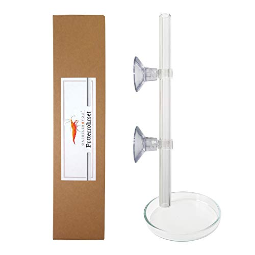 GARNELEN4YOU® Futterrohr-Sets aus Borosilikat-Laborglas | Rohr und Futter-Schale für Garnelenfutter | elegant schmales Aquarium-Design | bruchfestes Glas statt billiges Acryl