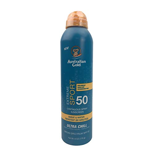 Australian Gold Extreme Sport Continuous Spray Sunscreen SPF 50 (Broad Spectrum/Sweat & Water Resistant/Non-Greasy/Oxybenzone Free/Cruelty Free), Sport - New, Coastal Breeze, 6 Oz
