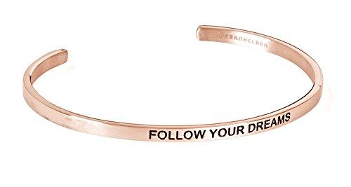 URBANHELDEN - Armreif mit Gravur - Damen Schmuck Inspiration Motivation - Verstellbar, Edelstahl - Armband mit Spruch