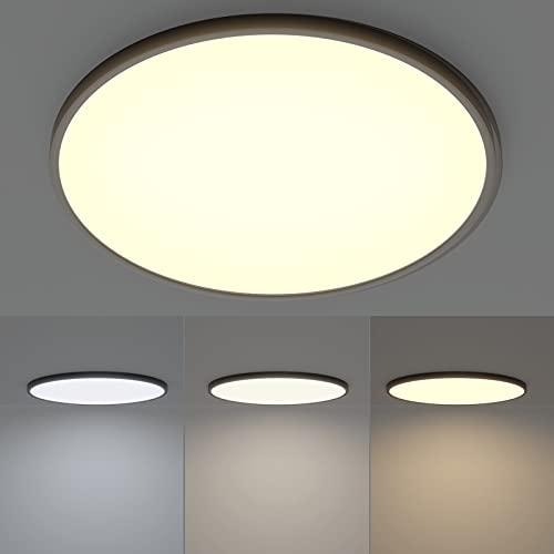 Klighten Led Deckenleuchte Flach Rund, 48W 4320LM Deckenlampe Modern Deckenbeleuchtung für Wohnzimmer Schlafzimmer Flur Küche, Farbtemperatur Umschaltbar auf 3000/4500/6000K, Ø50cm × H2cm, Schwarz