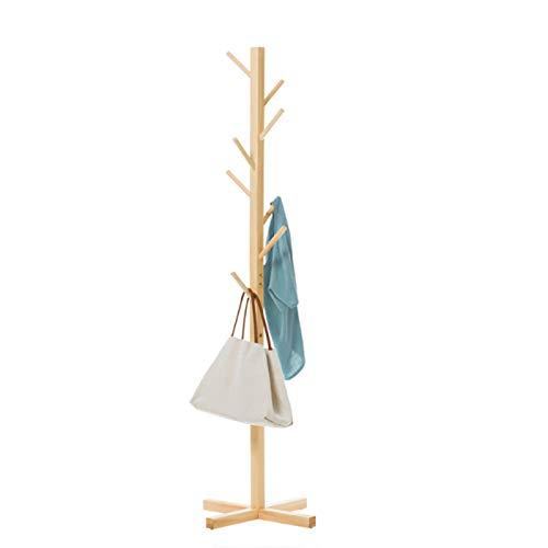 Perchero de Pie, Soporte De Estante De La Capa De árbol De Madera, Perchero De Capa Independiente Con 8 Ganchos De Abrigo De Entrada Percha Para Ropa De Hogar O Oficina Bufandas Bolsos(Color:Amarillo)