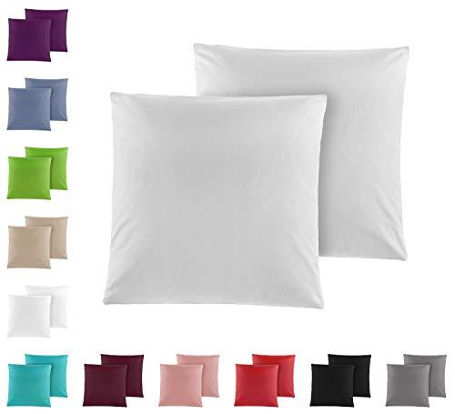 Doppelpack Baumwolle Renforcé Kissenbezug, Kissenbezüge, Kissenhüllen 80x80 cm in vielen modernen Farben Silber