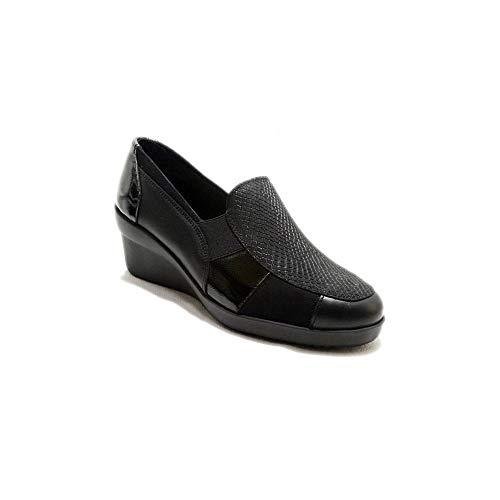 24 Horas 22627 - Zapatos Mocasines de Mujer con Cuña Alta En Piel Negra de Diferentes Texturas y Brillos - 37, Negre