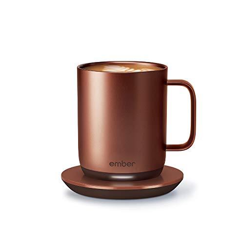 NEW Ember Temperature Control Smart Mug 2, 10 oz, Copper, 1.5-hr Battery Life - App Controlled Heated Coffee Mug - Improved Design