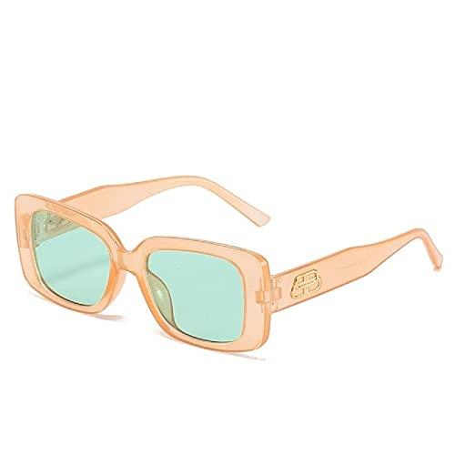 NBJSL Gafas de sol cuadradas para mujer Gafas de sol rectangulares pequeñas de viaje Gafas de sol retro vintage (caja de embalaje exquisita)