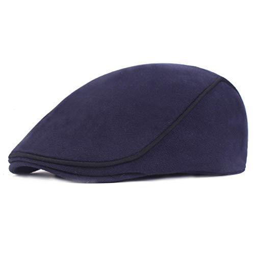 KCJMM-HAT Béret Homme ou Femme Classic Casquette Plate,Bonnet de Canard en Laine d'âge Moyen, béret de Laine pour Hommes, Bleu foncé